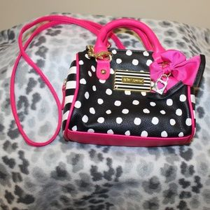 Betsey Johnson Bag Purse Long Strap polka dot Pink